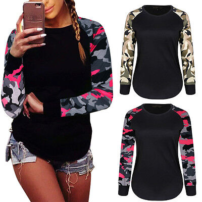 Fashion Womens Long Sleeve Shirt Ladies Casual Blouse Tops Camouflage T Shirt