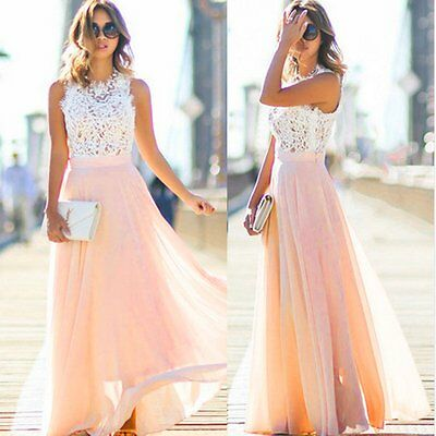 Sexy Women Summer Boho Lace Long Maxi Evening Party Dress Beach Dresses Sundress