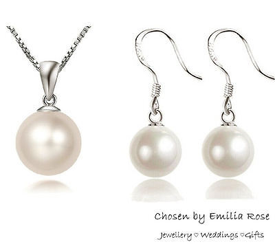 Bridesmaid Silver Pearl Necklace & Earrings Wedding Jewelry Set Bridal Jewellery
