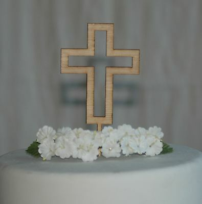 Wooden Cross cake topper for Baptism, Christening, Holy Communion Cake