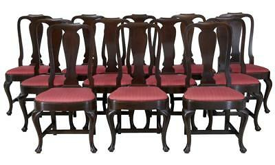 SET OF 12 1920's OAK QUEEN ANNE DESIGN DINING CHAIRS