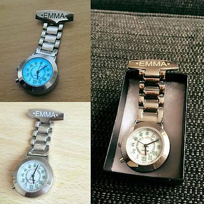 Personalised Engraved Chrome Nurse / Carers Fob Watch with Back light- FREE P&P