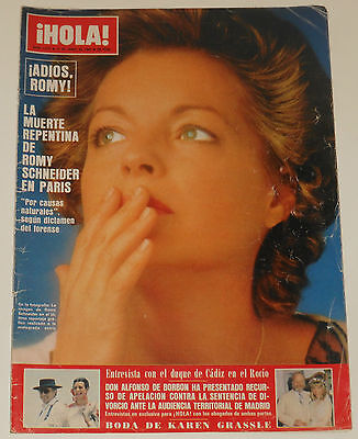 ROMY SCHNEIDER DEATH Hola 1982 cover & inside spanish clippings photos magazine