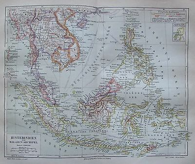 1888 HINTERINDIEN UND MALAIEN-ARCHIPEL alte Landkarte antique map Lithographie