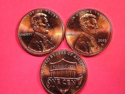 2013 P&D - Lincoln Shield Cent Set - Brilliant Uncirculated Gems