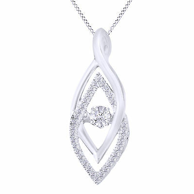.015 ct Round White Natural Diamond 925 Silver Dancing Pendant Necklace