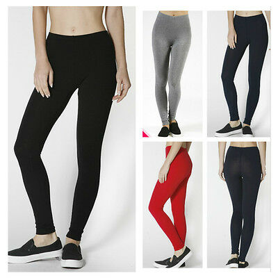 Women's Plus Size Stretchy Full Length Cotton Leggings Slim Pants Yoga S~3XL