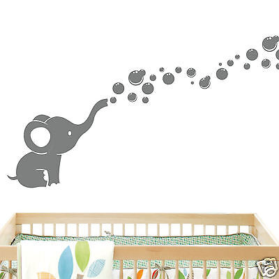 Elephant Bubbles Baby Wall Decal Vinyl Wall Nursery Room Decor EB2 Color