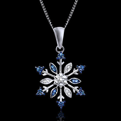 $115 Blue & White Natural Diamonds 1/15 Carat Snowflake Necklace Sterling Silver