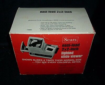 Vintage Sears Easi-Load 2 X 2 Inch Lighted Slide Viewer View Film Pictures Box