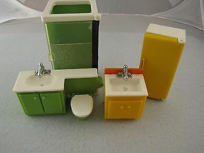 Fisher Price Loving Family Dollhouse Furniture Vintage 1970s Bathroom Kitchen FP