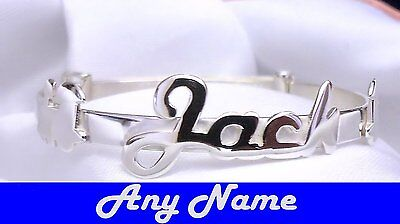 4 Sizes Personalised Boys Baby Childs Handmade Quality Silver Bangle Christening