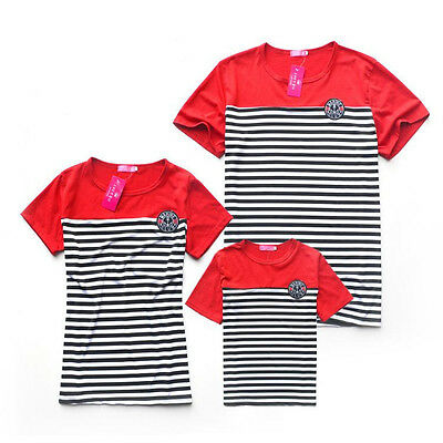 Family Look Matching Clothing Outfits Set Tops Short-sleeve Red Striped T-shirts