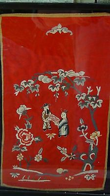 Antique Chinese Gold & Multi-Color Stitches Embroidery Man & Woman In Garden,Bat