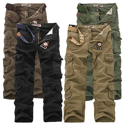 Fashion Cargo Camo Combat Military Mens Trousers Camouflage Pants Casual UK30-42