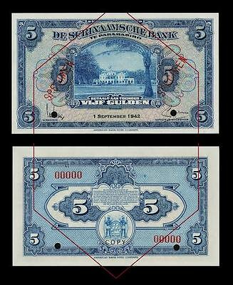 Suriname 5 Gulden 1942 .  UNC - Reproductions