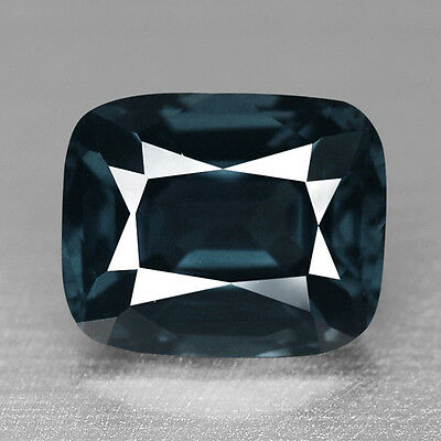 1.61Cts Fabulous Cushion Cut Natural Deep Steel Gray Spinel Video In Description