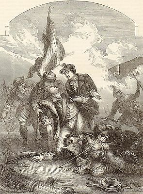 Antique Print, Canada, Battle Of Quebec, Death Of Montgomery 1775