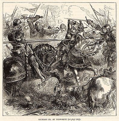 Antique Print, Battle Of Bosworth, Richard The Iii At Bosworth, 1485