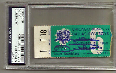 Mike Ditka signed autographed 1968 Bears Dallas Cowboys Ticket Stub PSA/DNA