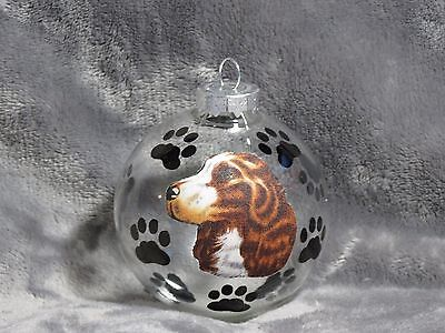 "Hand Made Brittany Spaniel 3"" Glass Christmas Ornament / Ball"
