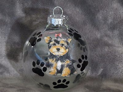 Hand Made Yorkshire Terrier Glass Christmas Ornament / Ball