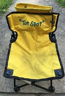 Tot Spot Folding Lawn Chair Yellow Carrying Bag My Name Child's Outdoor Seating