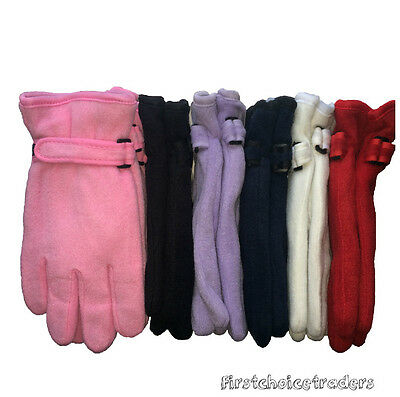 3 x Ladies Women Thermal Soft Polar Fleece Thinsulate lined Warm Winter Gloves