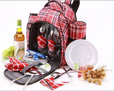 Insulated Picnic Back Pack | 4 persons | incl. all accessories | Picnic Bag  Red