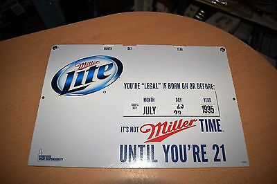 "Miller Lite Bar Advertising  ""You're Legal If Born On Or Before"" Calendar Sign"