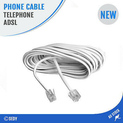 20m Telephone Line Phone Cable Extension Cord Lead Wire Plug ADSL RJ11 Network