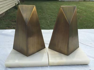 W. Macowski 1970's Abstract Modernism Bookends Sculpture Metal Art Signed