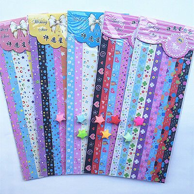 30 150 300 strips folding lucky wish stars origami paper for Lucky star folding