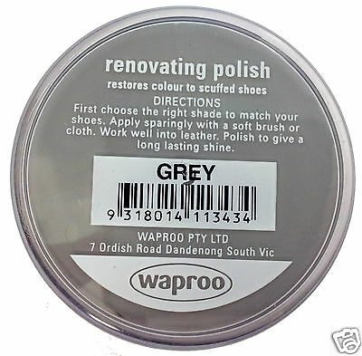 GREY Shoe Polish Cream - Restore Colour to Leather SHOES / BOOTS / BAGS WAPROO