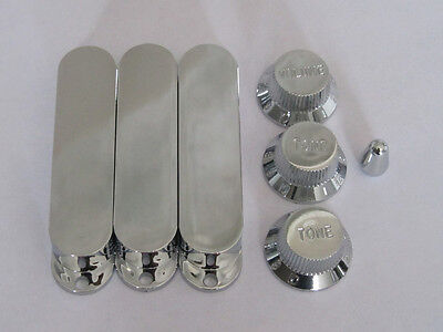 Chrome Closed ST Strat Pickup Covers w/ Guitar Knobs and 5 Way Switch Tip