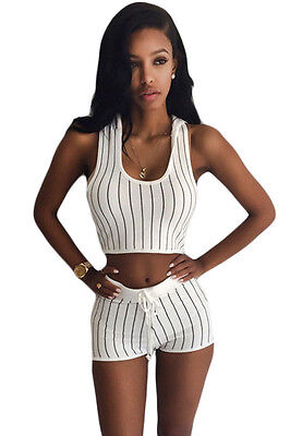 Sexy Stripe Hooded Crop Top and Short Set White ladies casual sports Track Suit