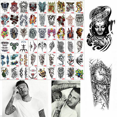 Mens Large Temporary Tattoo Arm Body Art Removable Waterproof Tattoo Sticker