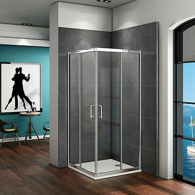 Corner Entry Shower Enclosure Glass Stone Tray Double Sliding Door Cubicle 900