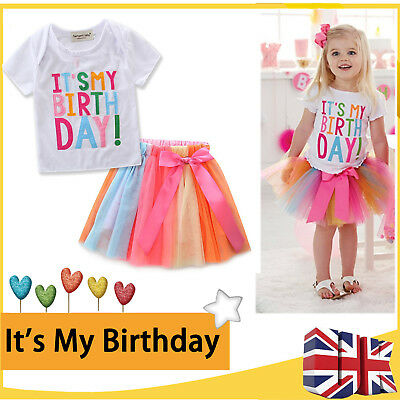 Kids Baby Girls Dress Party It's My Birthday T-shirt +Cake Tutu Skirt Outfit Set