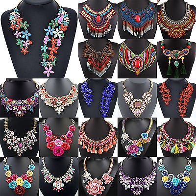 N Women Chain Statement Chunky Collar Flower Pendant Choker Bib Necklace Jewelry