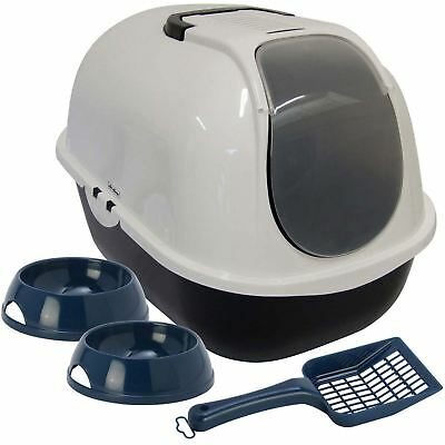 Cat Large Hooded Litter Tray + Bowls + Scoop Kitten Bundle Box Toilet Filter