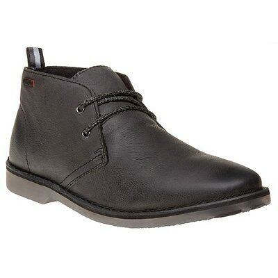 New Mens Superdry Black Dakar Leather Boots Chukka Lace Up