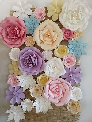 Giant Paper Flower Wall  30 Assorted Pastel Flowers