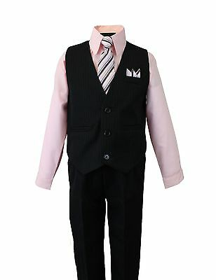 Boy's Formal Vest Set with Dress Shirt Pinstriped Vest Pants and Tie Pink