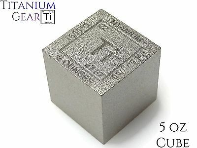 Titanium Cube 5 Ounce Ti Element #22 Fine Bullion .999 Ingot Bar Made in USA