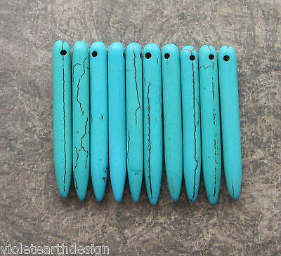10 Turquoise Howlite Pointy Stick Beads 43mm Top Drilled Pendant Fringe