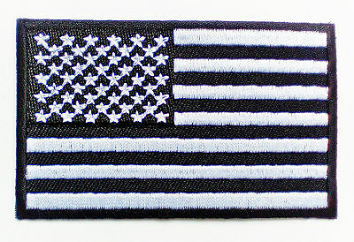 LOT OF 10 USA AMERICAN FLAG EMBROIDERED PATCH iron-on US BLACK WHITE