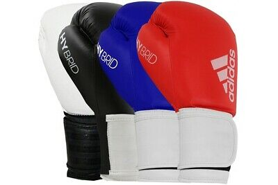Adidas Hybrid 100 Boxing Gloves Black Blue Red Gold Sparring  8 10 12 14 16 oz
