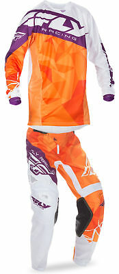 Fly Orange/Purple/White Mens & Youth Kinetic Crux Dirt Bike Jersey Pant Kit
