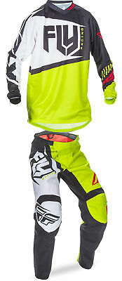 Fly Racing Black/Lime/White Mens & Youth F-16 Dirt Bike Jersey & Pant Kit 2017